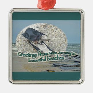 Saludos de las playas hermosas de New Jersey Adorno Cuadrado Plateado