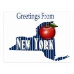 Saludos de las telas a rayas de Nueva York y de Ap Postal