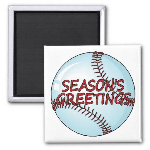 Saludos de las temporadas de béisbol imán de nevera