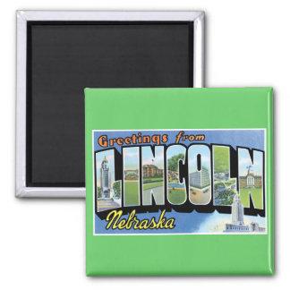 ¡Saludos de Lincoln, Nebraska! Imán Cuadrado