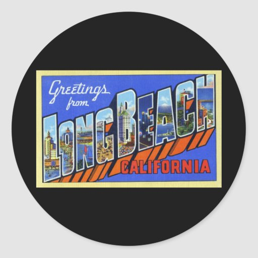 Saludos de Long Beach California Pegatinas Redondas