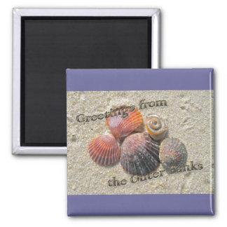 Saludos de los Seashells de Outer Banks Imanes De Nevera