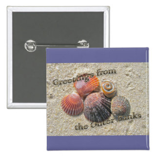 Saludos de los Seashells de Outer Banks Pin Cuadrado