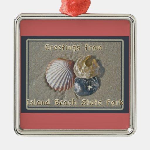 Saludos de los Seashells del parque de playa de Adorno Cuadrado Plateado