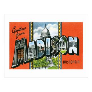 Saludos de Madison, Wisconsin Tarjeta Postal