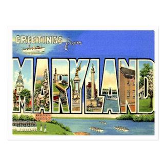 Saludos de Maryland de estados de los E.E.U.U. Postales