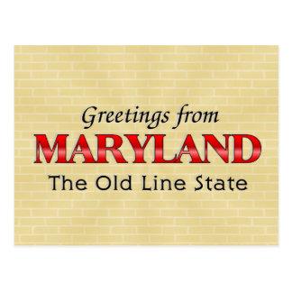 Saludos de Maryland Tarjetas Postales
