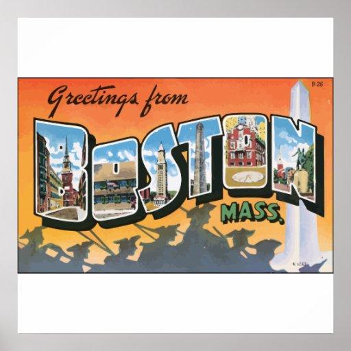 Saludos de Massachusetts de Boston, vintage Póster