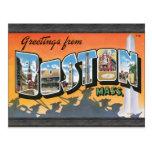 Saludos de Massachusetts de Boston, vintage Tarjetas Postales