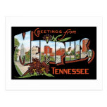 ¡Saludos de Memphis, Tennessee! Postal retra