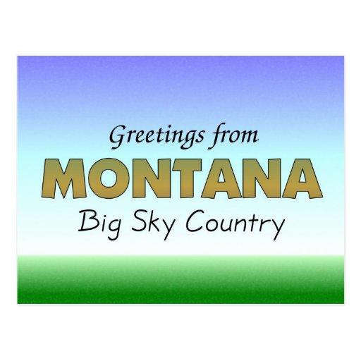 Saludos de Montana Tarjeta Postal