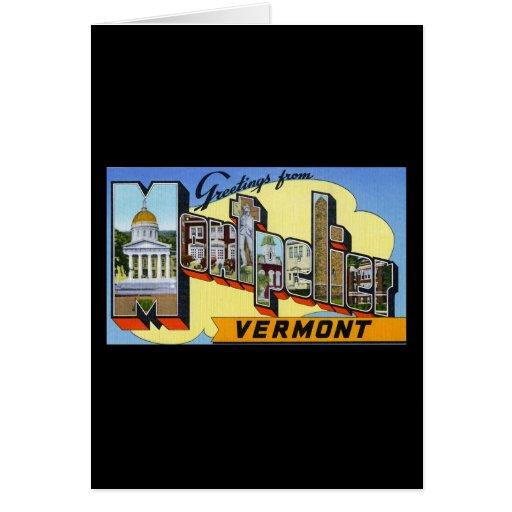 Saludos de Montpelier Vermont Tarjeton