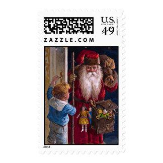 Saludos de Navidad de Santa del Viejo Mundo Sello