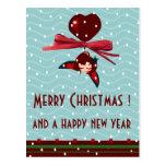 saludos de Navidad del kawaii de la mariquita Postal