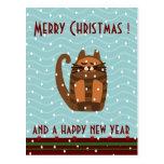 saludos de Navidad del kawaii del gato del rufus Postal