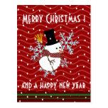 saludos de Navidad del kawaii del muñeco de nieve Postal