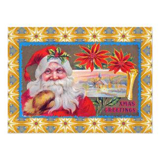 """Saludos de Navidad del vintage Invitación 5.5"""" X 7.5"""""""