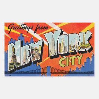 Saludos de New York City Rectangular Pegatina