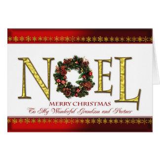 Saludos de Noel para el nieto y el socio Tarjeta De Felicitación