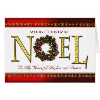 Saludos de Noel para el sobrino y el socio Tarjeta De Felicitación