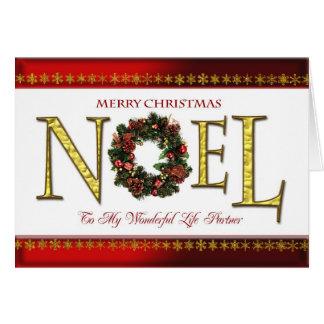 Saludos de Noel para el socio de la vida Tarjeta De Felicitación