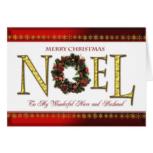 Saludos de Noel para la sobrina y el marido Tarjeta