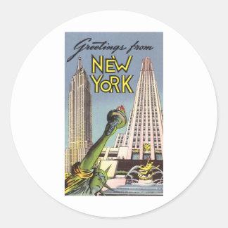 Saludos de Nueva York Pegatina Redonda