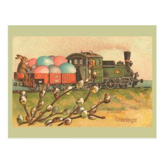 Saludos de Pascua con el tren del huevo Tarjeta Postal