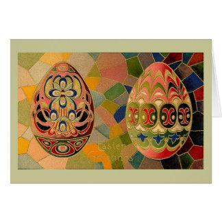 Saludos de Pascua con los huevos pintados Tarjetón