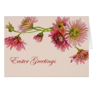 Saludos de Pascua del crisantemo - tarjeta