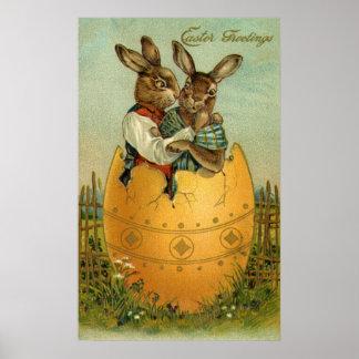Saludos de Pascua del vintage, conejitos en un hue Posters