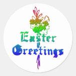 Saludos de Pascua Pegatina Redonda