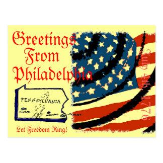 Saludos de Philadelphia Tarjetas Postales