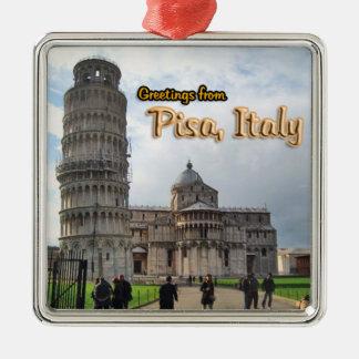 Saludos de Pisa Italia Adorno Navideño Cuadrado De Metal