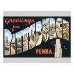 Saludos de Pittsburgh Penna., vintage Flyer A Todo Color