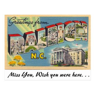 Saludos de Raleigh, Carolina del Norte Postal