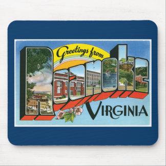 ¡Saludos de Roanoke, Virginia! Postal retra Alfombrilla De Ratón
