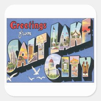 Saludos de Salt Lake City Utah Pegatina Cuadrada