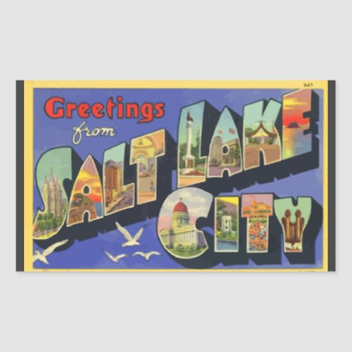 Saludos de Salt Lake City, vintage Pegatina Rectangular