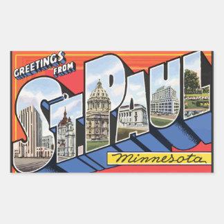 Saludos de San Pablo Minnesota, vintage Pegatina Rectangular