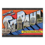 Saludos de San Pablo Minnesota, vintage Tarjetón