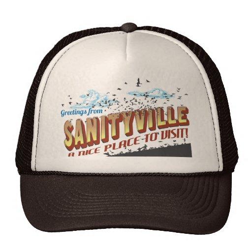 Saludos de Sanityville - un lugar agradable a visi Gorros Bordados