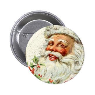 Saludos de Santa del vintage Pin Redondo De 2 Pulgadas