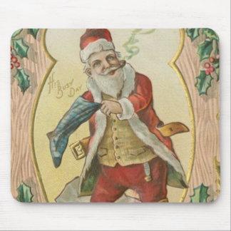 Saludos de Santa del vintage Tapete De Raton