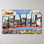 Saludos de Seattle Washington, vintage Poster