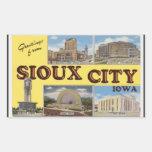 Saludos de Sioux City Iowa, vintage Rectangular Pegatinas