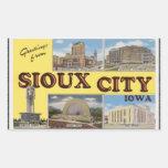 Saludos de Sioux City Iowa, vintage Rectangular Pegatina