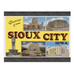 Saludos de Sioux City Iowa, vintage Tarjeta Postal