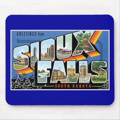 ¡Saludos de Sioux Falls, Dakota del Sur! Retro Tapete De Ratones