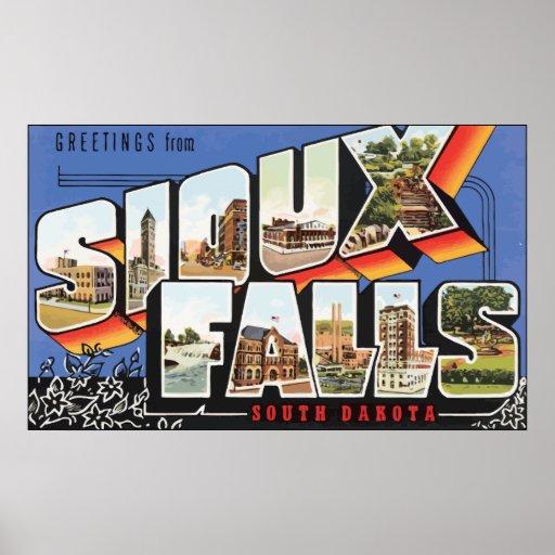 Saludos de Sioux Falls Dakota del Sur, vintage Poster